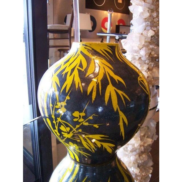 Modern Yellow Bamboo Glazed Terracotta Vase For Sale - Image 3 of 5