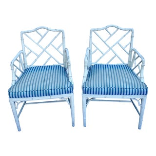 Vintage Mid Century Chinese Chippendale Faux Bamboo Armchairs - a Pair For Sale