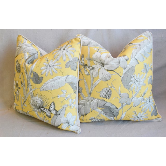 """Designer English Floral & Nature Linen/Velvet Feather & Down Pillows 24"""" Square - Pair For Sale - Image 9 of 13"""
