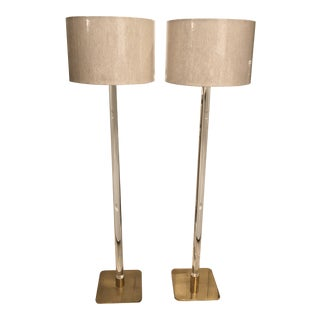 Mid Century Modern Hansen New York Lucite and Brass Floor Lamps With Shades - a Pair For Sale