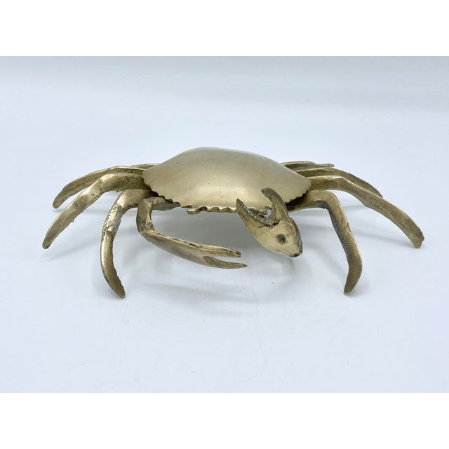 Mid-Century Brass Crab Ashtray With Hinged Lid For Sale In Houston - Image 6 of 7
