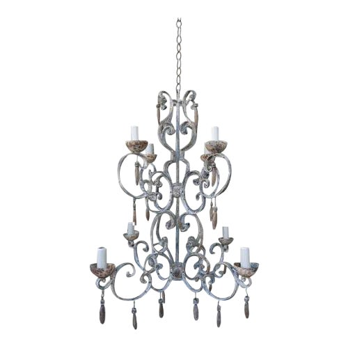 8-Light Painted Italian Chandelier with Drops - Image 1 of 8