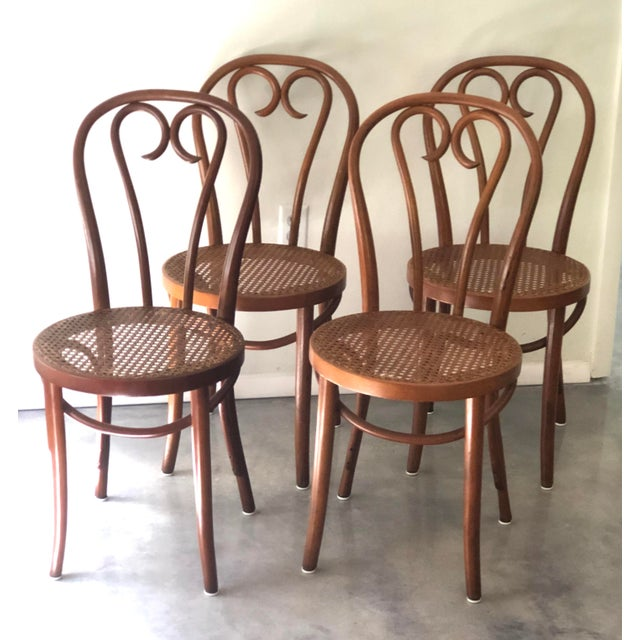 Brown Vintage Thonet Sweetheart Bentwood Cane Bistro Cafe Chairs--Set of 4 For Sale - Image 8 of 9