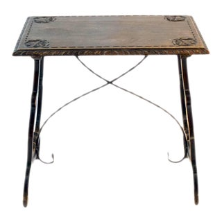 Early 19th Century Baroque Side Table With Lyre Leg For Sale
