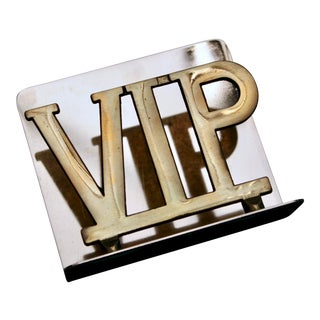 "1970s Vintage ""Vip"" Brass Letter Holder For Sale"