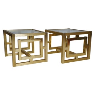 Gold Fret Work Side Tables - A Pair