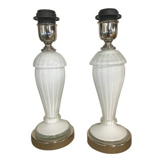Murano Table Lamps in White Murano Glass - a Pair For Sale