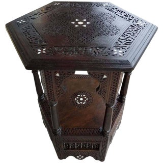 Syrian Moroccan Walnut Mother-Of-Pearl Side Table