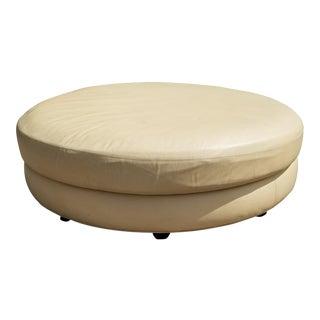 1980s Milo Baughman Designed Thayer Coggin Cream Leather Round Ottoman For Sale