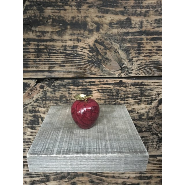 Vintage Red Marble Apple With Brass Stem - Image 6 of 7