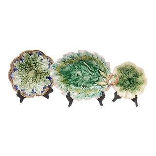 English Majolica Plates - Set of 3 For Sale