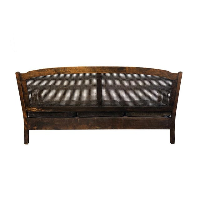 1900 - 1909 1900s Chippendale Colonial Style Cane Back Carved Wood Blue Fortuny Style Velvet Fabric Settee Antique Sofa or Daybed For Sale - Image 5 of 10