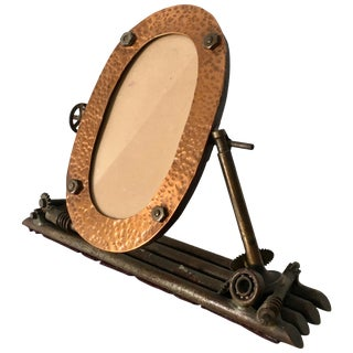 Folk Art Oval Copper Picture Frame, 1934 For Sale