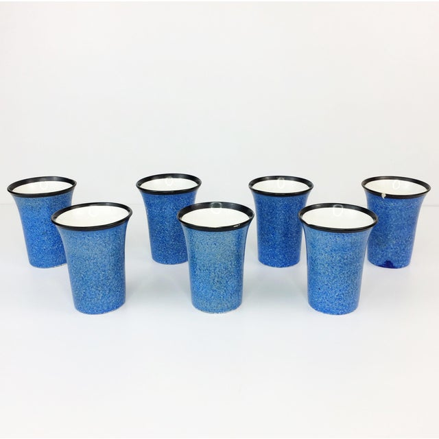 Czech Black Bird Pottery Pitcher & Tumblers - Set of 7 - Image 8 of 11