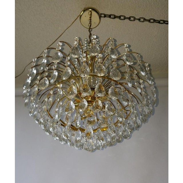 Mid-Century Crystal & Brass Plated Spider Chandelier - Image 11 of 11