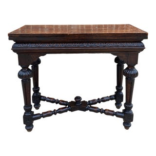 Antique English Game Table Flip Top Gaming Card Table For Sale