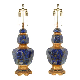 1960s Large Italian Ceramic Lamps with Lapis Glazed Finish - a Pair For Sale