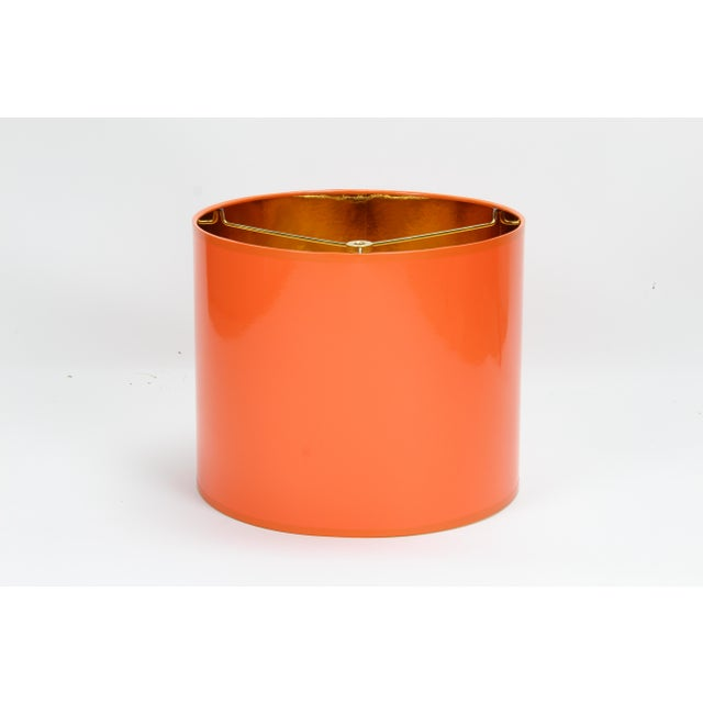 Art Deco Orange High Gloss Drum Lamp Shade With Gold Lining For Sale - Image 3 of 8