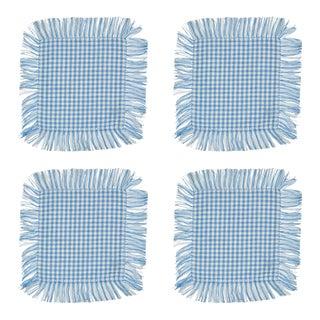 Blue Gingham Fringe Cocktail Napkins - Set of 4