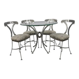 Brushed Steel Modern Regency Dining Set