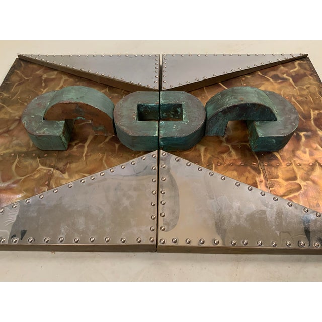 Brutalist 1970s 'Untitled' Wall Mounted Sculpture in Copper and Brass For Sale - Image 3 of 9