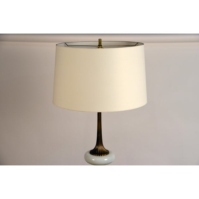Elegant Gilt Bronze and Opaline Tassel Lamp in the Style of Tony Duquette For Sale - Image 9 of 10