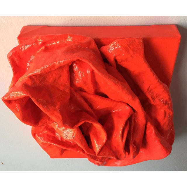 """Textile """"Fluorescent Grenadine Folds"""" Mixed Media Wall Sculpture For Sale - Image 7 of 8"""