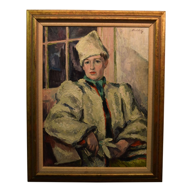 """""""White Russian"""" Signed Frederick Buchholz Impressionist Portrait Painting For Sale"""