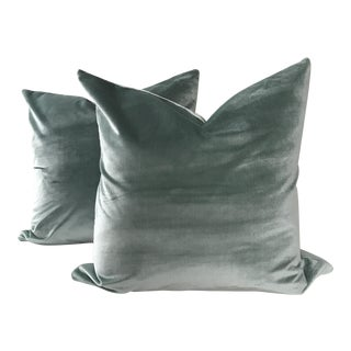 Blue Italian Silk Velvet Pillows - A Pair