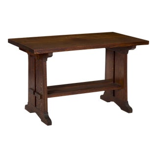 20th Century American Arts & Crafts Oak Antique Trestle Writing Desk Table For Sale