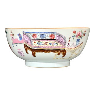 """Chinese Export Famille Rose Porcelain Bowl With Chinese """"Antiques"""" & Scholar's Items on Furniture, Qianlong Period, Circa 1735-40 For Sale"""