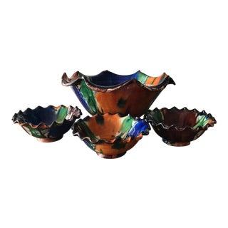 Vintage Mexican Oaxaca Pottery Bowls - Set of 4