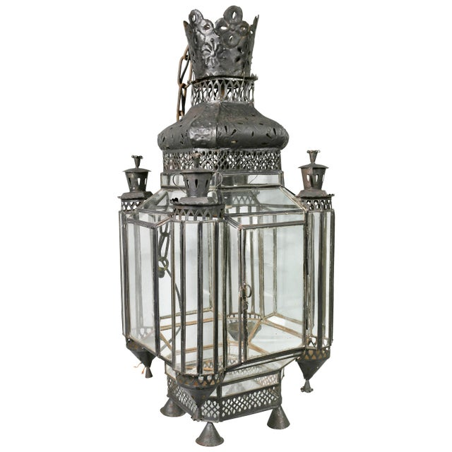 Moroccan Black Painted Tole Hall Lantern For Sale - Image 11 of 11