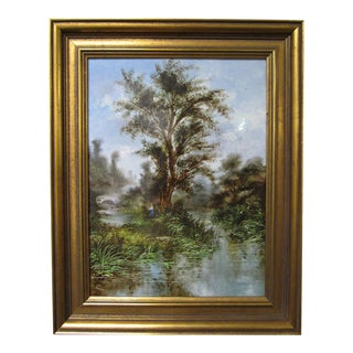 Early 20th Century French Barbizon School River Landscape Painting on a Porcelain Plaque, Framed For Sale