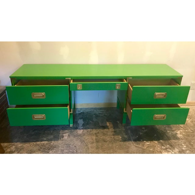 "A gorgeous, long campaign desk has been freshly lacquered in a satin green, Benjamin Moore ""grassy fields"" to be exact!..."