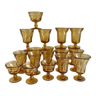 Mid-Century Amber Glasses Set of 19 For Sale