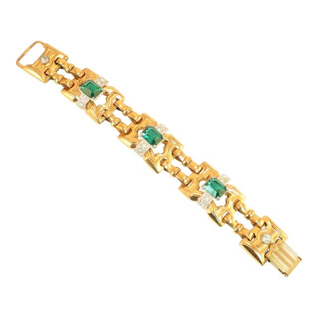 Art Deco McClelland Barclay Geometric EmErald Bracelet 1930s For Sale