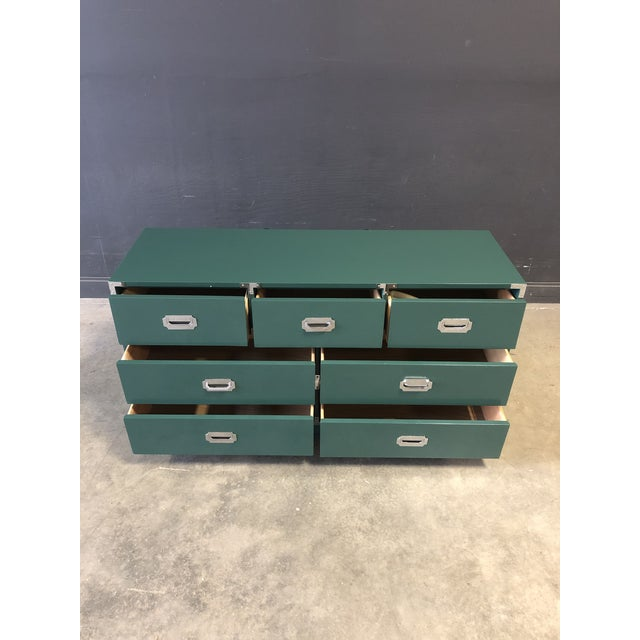 1970s Green Lacquered 7 Drawer Campaign Style Chest/Dresser For Sale - Image 5 of 6