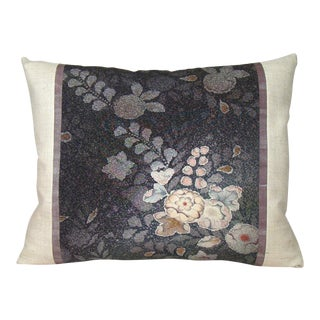 Mauve & Plum Floral Japanese Tsujigahana Kimono Pillow Cover For Sale