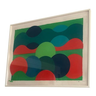 Framed Modernist Organic Geometric Abstract Painting by Listed Artist For Sale