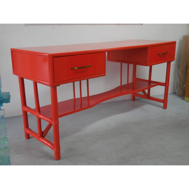 Mid-Century Modern Slender Tommi Parzinger Attributed Desk for Willow and Reed For Sale - Image 3 of 10