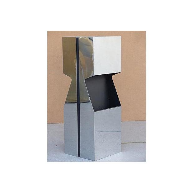 Modern George Kovacs Chrome & Black Angled Lighted Pedestal For Sale - Image 3 of 10