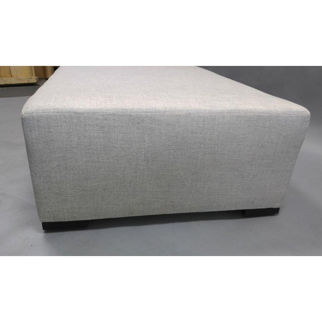 Contemporary Upholstered Ottoman with Hidden Casters in Dedar Fabric For Sale - Image 3 of 8