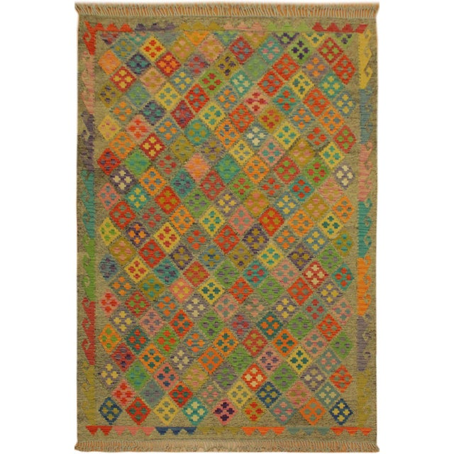 Brown Abstract Margheri Brown/Rust Hand-Woven Kilim Wool Rug -6'3 X 7'11 For Sale - Image 8 of 8