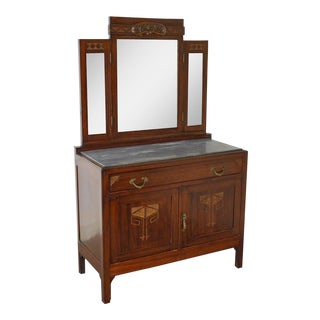 Antique Austrian Arts & Crafts Mahogany Marble Top Server w/ Mirror