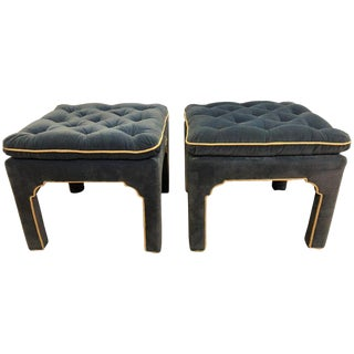 Pair of Vintage Blue Velour Tuffted Footstools or Benches