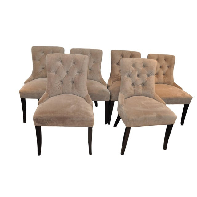 Velvet Upholstered Dining Chairs - Set of 6 - Image 1 of 8