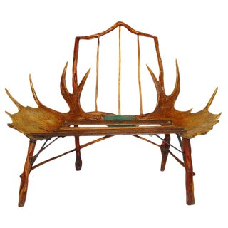 Rustic Canadian Craftsman Moose Antler Chair For Sale