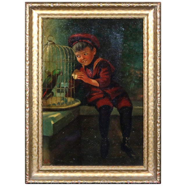 Red Antique Oil on Canvas Boy & Parrot Genre Painting, Artist Signed, Circa 1920 For Sale - Image 8 of 8