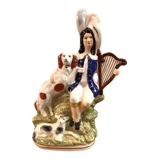 Mid 20th Century Staffordshire Figure of Man With Harp, Dog and Sheep For Sale